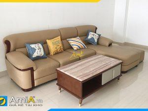 mẫu ghế sofa da đẹp kiểu dáng chữ L mã Amia338